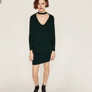 Zara sweater dress with choker
